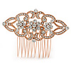 Bridal/ Wedding/ Prom/ Party Rose Gold Tone Clear Austrian Crystal Floral Side Hair Comb - 65mm