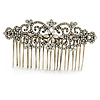 Vintage Inspired Clear Austrian Crystal Flowers and Twirls Side Hair Comb In Antique Gold Tone - 85mm