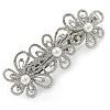 Silver Tone Open Cut Clear Crystal, White Glass Pearl Flower Barrette Hair Clip Grip - 85mm Across