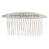 Bridal/ Wedding/ Prom/ Party Silver Plated Clear Crystal, Cream Faux Pearl Hair Comb - 80mm