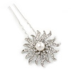 Bridal/ Wedding/ Prom/ Party Single Clear Crystal White Glass Pearl Flower Hair Pin In Silver Tone - 80mm L