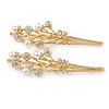 2 Bridal/ Prom Clear Crystal, Pearl Floral Hair Grips/ Slides In Gold Plating - 70mm L