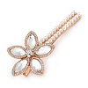 Large Glass Pearl, Clear Crystal Flower Hair Beak Clip/ Concord Clip In Rose Gold Tone - 90mm L