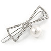 Silver Plated Clear Crystal White Glass Pearl Open Bow Hair Slide/ Grip - 50mm Across