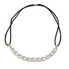 Fancy Geometric Pattern Clear Crystal Elastic Hair Band/ Elastic Band/ Headband - 50cm L (not stretched)