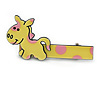 Children's/ Teen's / Kid's Yellow/ Pink Donkey Acrylic Hair Beak Clip/ Concord Clip/ Clamp Clip In Silver Tone - 50mm L