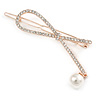 Rose Gold Tone Metal Clear Crystal, Simulated Pearl Bead Open Bow Hair Slide/ Grip - 70mm Across