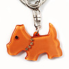 Brown Plastic Scottie Dog Keyring/ Handbag Charm