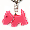 Pink Plastic Scottie Dog Keyring/ Handbag Charm