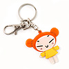 Orange Plastic Japanese Girl Handbag Charm Key Chain
