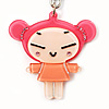 Pink Plastic Japanese Girl Handbag Charm Key Chain