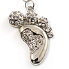 Funky Crystal Foot Key Ring/ Bag Charm (Silver Tone)