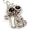 Cute Crystal Cat Keyring (Silver Tone)