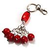 Silver Tone Ceramic Bead Charm Keyring/ Bag Charm (Coral Red)