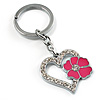 Silver Tone Crystal Enamel Heart Keyring/ Bag Charm