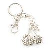 Clear Diamante Cherry Keyring (Silver Tone Metal)