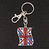 Silver Plated Union Jack Keyring/ Bag Charm - 10cm Length
