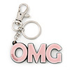'OMG' Light Pink Plastic Rhodium Plated Keyring/ Bag Charm - 105mm Length