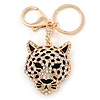 Crystal Tiger Keyring/ Bag Charm In Gold Plating - 11cm L