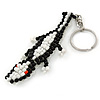 Black/ White Glass Bead Crocodile Keyring/ Bag Charm - 17cm Length