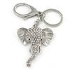 Clear Crystal Elephant Head Keyring/ Bag Charm In Silver Tone - 15cm L