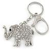 Clear Crystal Elephant Keyring/ Bag Charm In Silver Tone - 13cm L