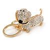Clear Crystal Badger-Dog Keyring/ Bag Charm In Gold Tone Metal - 7cm L