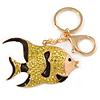 Lemon Yellow Crystal, Brown Enamel Fish Keyring/ Bag Charm In Gold Tone Metal - 8cm L