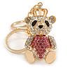 Pink/ Clear Crystal Royal Teddy Bear Keyring/ Bag Charm In Gold Tone Metal - 10cm L