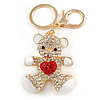 Clear/ Red Crystal White Enamel Teddy Bear Keyring/ Bag Charm In Gold Tone Metal - 10cm L