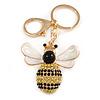 Yellow/ Black Crystal, White/ Black Enamel Bee Keyring/ Bag Charm In Gold Tone Metal - 9cm L