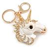 AB Crystal, White Enamel Glitter Unicorn Keyring/ Bag Charm In Gold Tone Metal - 10cm L