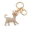 Clear Crystal White Enamel Cat Keyring/ Bag Charm In Gold Tone - 9cm L