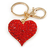 Hot Red Crystal Puffed Heart Keyring/ Bag Charm In Gold Tone Metal  - 8cm L