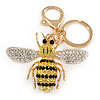 Yellow/ Black/ Clear Crystal Bee Keyring/ Bag Charm In Gold Tone Metal - 9cm L