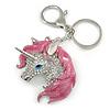 Clear Crystal, Pink Enamel Unicorn Keyring/ Bag Charm In Silver Tone Metal - 10cm L