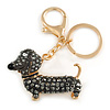 Hematite Crystal Badger-Dog Keyring/ Bag Charm In Gold Tone Metal - 7cm L