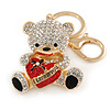 Clear/ Black Crystal Teddy Bear with Red Heart Keyring/ Bag Charm In Gold Tone Metal - 10cm L