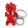 Red Crystal, Red Enamel Baby Dragon Keyring/ Bag Charm In Silver Tone Metal - 8cm L