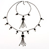 Black Long Double Tassel Fashion Necklace