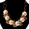 Gold Contemporary Jumbo Imitation Pearl Costume Necklace