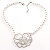 Open Rose Design Pearl Style Necklace