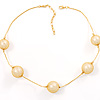 Gold Mesh Pearl Style Fashion Necklace