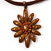 Light Brown Enamel Multi-Stranded Costume Floral Pendant
