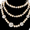 Long Silver-Tone Station Pearl Style Necklace