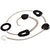 Long Black Oval Resin Bead Costume Necklace In Silver Plated Metal - 108cm L