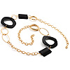 Statement Long Black Resin Fashion Necklace In Gold Plated Metal - 90cm L