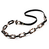 Long Black Leather Cord Crystal Perspex Link Fashion Necklace