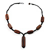 Wood Nugget Cord Necklace