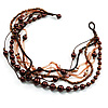 7-Tier Simulated Pearl & Dark Brown Sparkle Cord Necklace